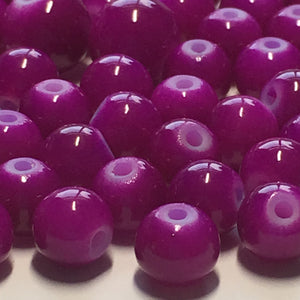 Neon Purple Painted Glass Round Beads, 5 and 7 mm, 43 Beads