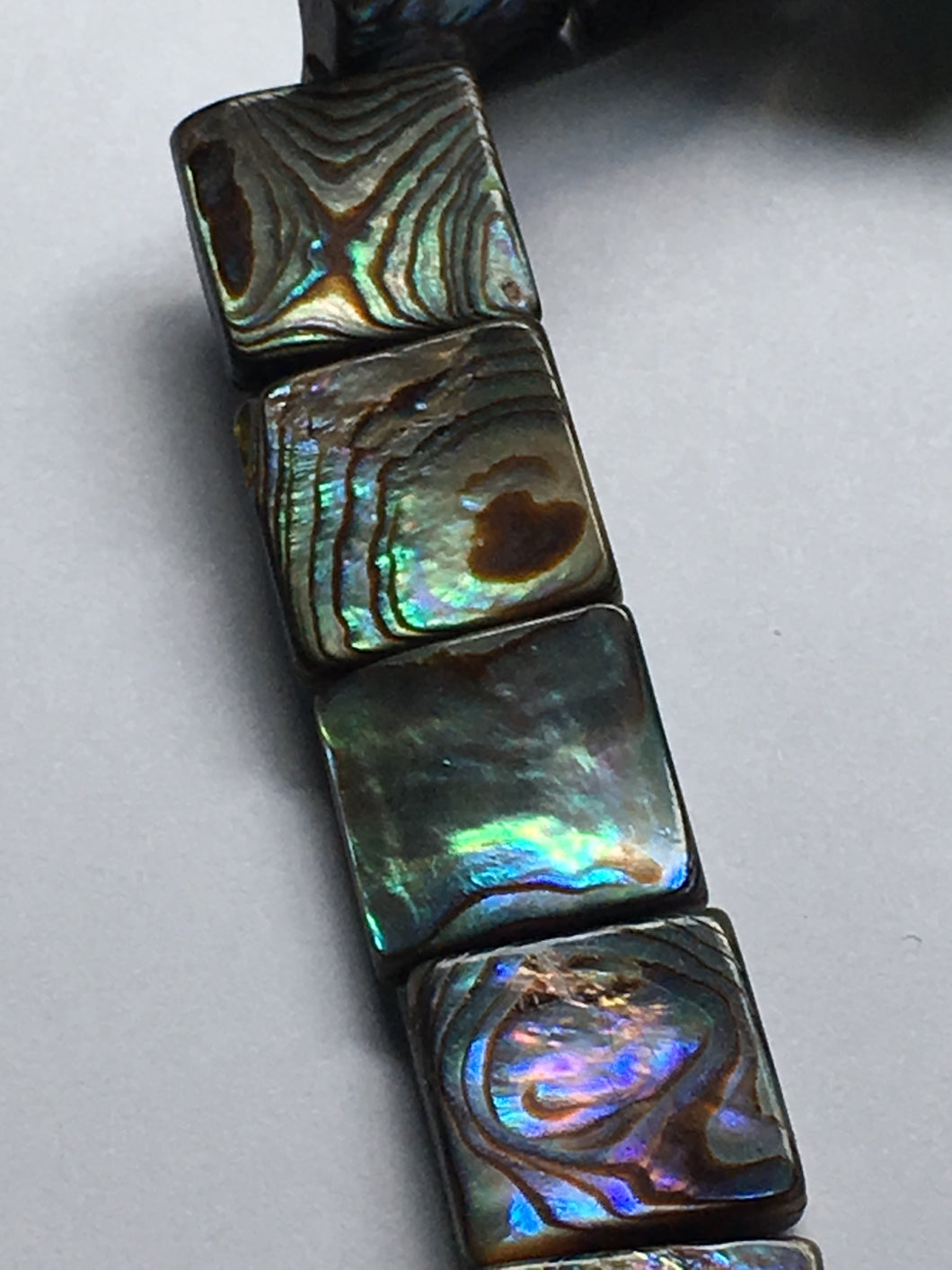Natural Abalone Mother of Pearl 12 mm Square Flat Beads, 16-Inch Strand