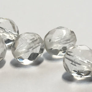 Clear Glass Faceted Round Beads, 8 mm, 6 Beads