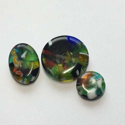 Multicolor Resin Beads, Flat Oval 18 x 12 mm, Coins 12 and 20 mm, 3 Beads
