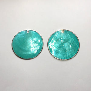 Translucent Turquoise Blue Silver Edged Shell Pendants, 50 mm, 1 Pair