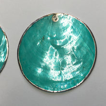 Load image into Gallery viewer, Translucent Turquoise Blue Silver Edged Shell Pendants, 50 mm, 1 Pair