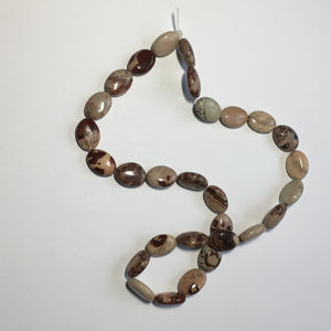 Paintbrush Coffee Bean Jasper Semi-Precious Stone Oval, Flats, 15 x 10 mm - 29 Beads