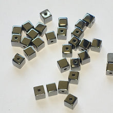 Load image into Gallery viewer, Hematite Glass Cube / Square Beads, 3 mm, 30 Beads