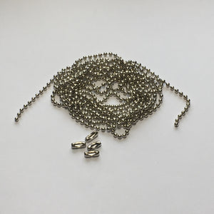 2 mm Silver Ball Chain, 55-Inch, 4 Connectors