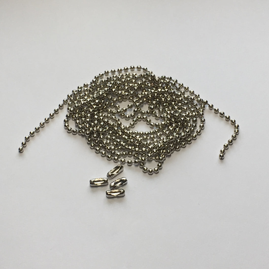 Silver Ball Chain, 2 mm, 55-Inch, 4 Connectors