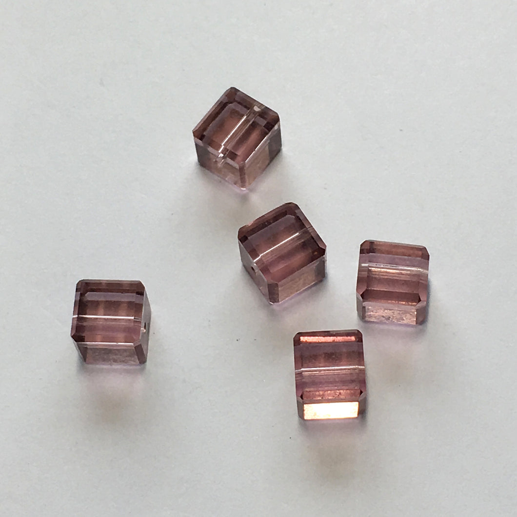 Amethyst / Purple Glass Faceted Cube / Square Beads, 6 mm, 5 Beads