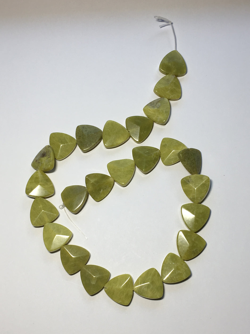 Olive Green Lace Agate Rounded Triangle Faceted Semi-Precious Stone, 17 mm - 25 Beads