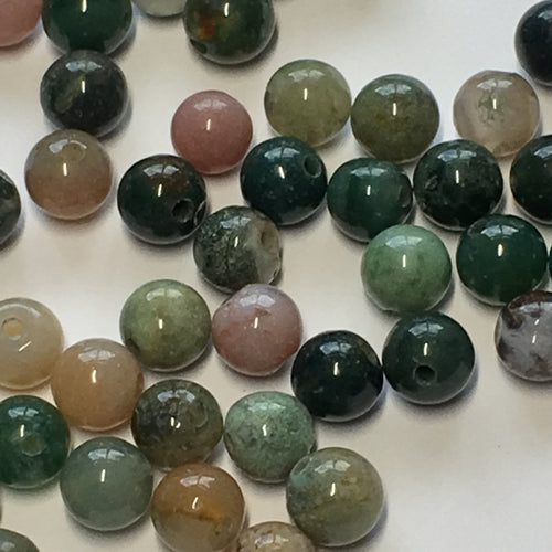 Fancy Jasper Semi-Precious Stone Round Beads, Mixed Colors, 6 mm, B Quality, 50 or 58 Beads