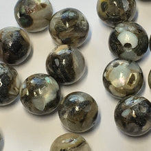 Load image into Gallery viewer, Black Resin and Shell Round Beads, 8 mm - 24 Beads