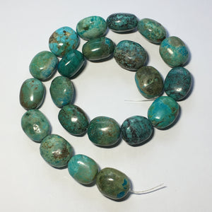 Blue Green Turquoise Smooth Semi-Precious Stone Nugget Beads - 21 Beads