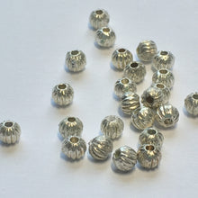 Load image into Gallery viewer, Silver Corrugated Round Beads, 3.5 mm - 29 Beads