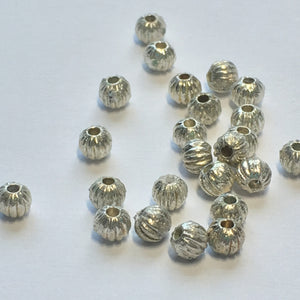 Silver Corrugated Round Beads, 3.5 mm - 29 Beads