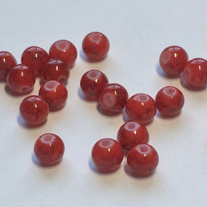 Red Painted Glass Round Beads, 4 mm, 20 Beads