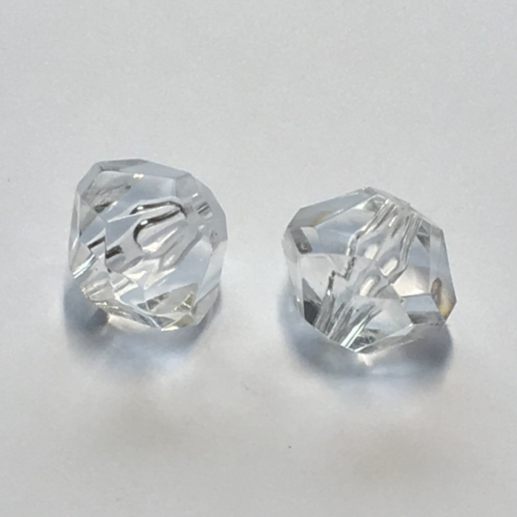 Clear Acrylic Faceted Round Beads, 15 x 19 mm - 2 Beads