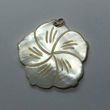 Load image into Gallery viewer, Cream Carved Shell Flower Pendant, 40 mm