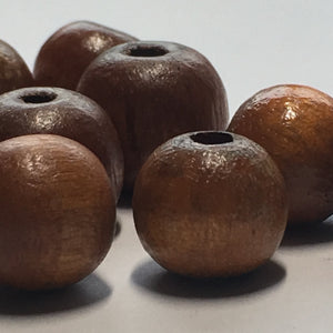 Brown Round Wooden Beads, 10 and 12 mm - 11 Beads
