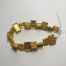 Load image into Gallery viewer, Gold Filigree 3-Strand Rectangle Flat Beads,  17 x 11 mm - 18 Beads