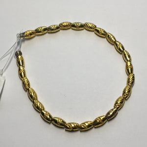 Gold Patterned Barrel Beads, 8 x 5 mm - 25 Beads