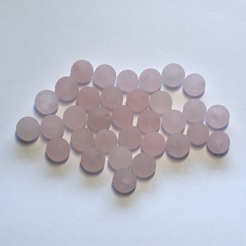 Gently Used Frosted Rose Quartz Semi-Precious Stone Round Beads, 8 mm - 33 Beads