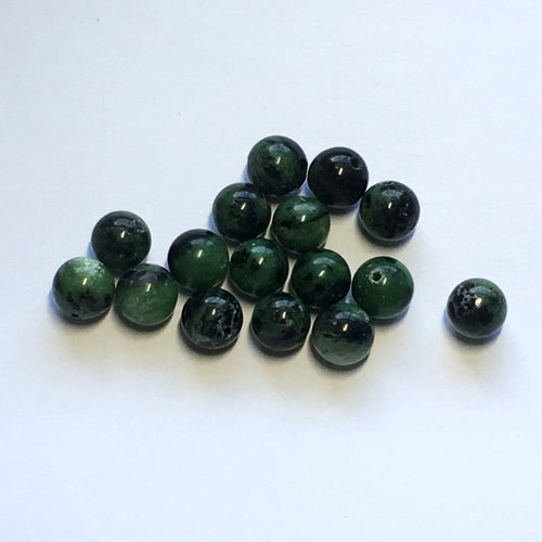 Kambaba Jasper Semi-Precious Green and Black Stone Round Beads, 8 mm - 20 Beads