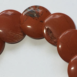 Red Jasper Semi-Precious Stone Lentil Beads, 12 mm Round - 18 Beads on Strand