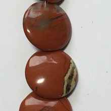 Load image into Gallery viewer, Red Jasper Semi-Precious Stone Lentil Beads, 12 mm Round - 18 Beads on Strand