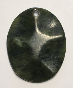 New Zealand Greenstone Semi-Precious Stone Oval Pendant, 47 mm