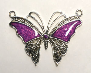 Antique Silver and Purple Butterfly Pendant, 45 mm