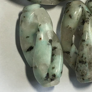 Kiwi Jasper Carved Oval Beads, 33 x 15 mm, 13 Beads