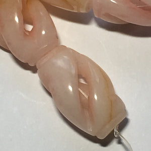 Bead Gallery Carved Peach Jade Semi-Precious Stone Oval Beads, 25 x 15 mm - 16 Beads