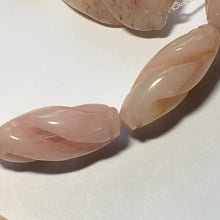 Load image into Gallery viewer, Bead Gallery Carved Peach Jade Semi-Precious Stone Oval Beads, 25 x 15 mm, 16-Inch Strand