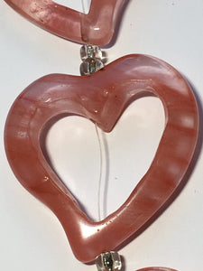 Bead Gallery Carved Cherry Quartz Semi-Precious Stone Heart Beads, 38 x 35 mm - 5 Beads