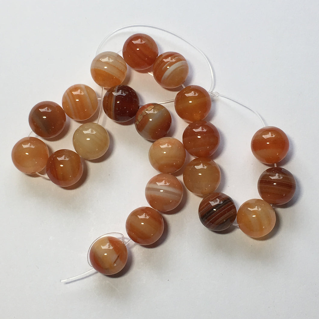 Striped Orange Agate Semi-Precious Stone Round Beads, 10 mm - 21 Beads