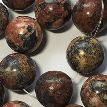Load image into Gallery viewer, Brown/Red  Agate Semi-Precious Stone Round Beads, 12 mm - 17 Beads