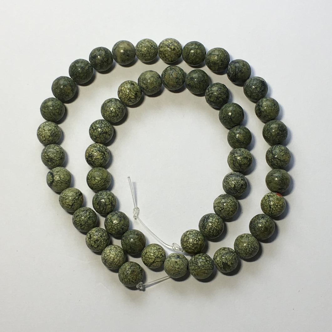 Natural Green Serpentine Semi-Precious Round Stone Beads, 8 mm - 16-Inch Strand; 49 Beads