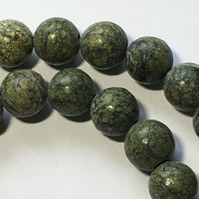 Load image into Gallery viewer, Natural Green Serpentine Semi-Precious Round Stone Beads, 8 mm - 16-Inch Strand; 49 Beads