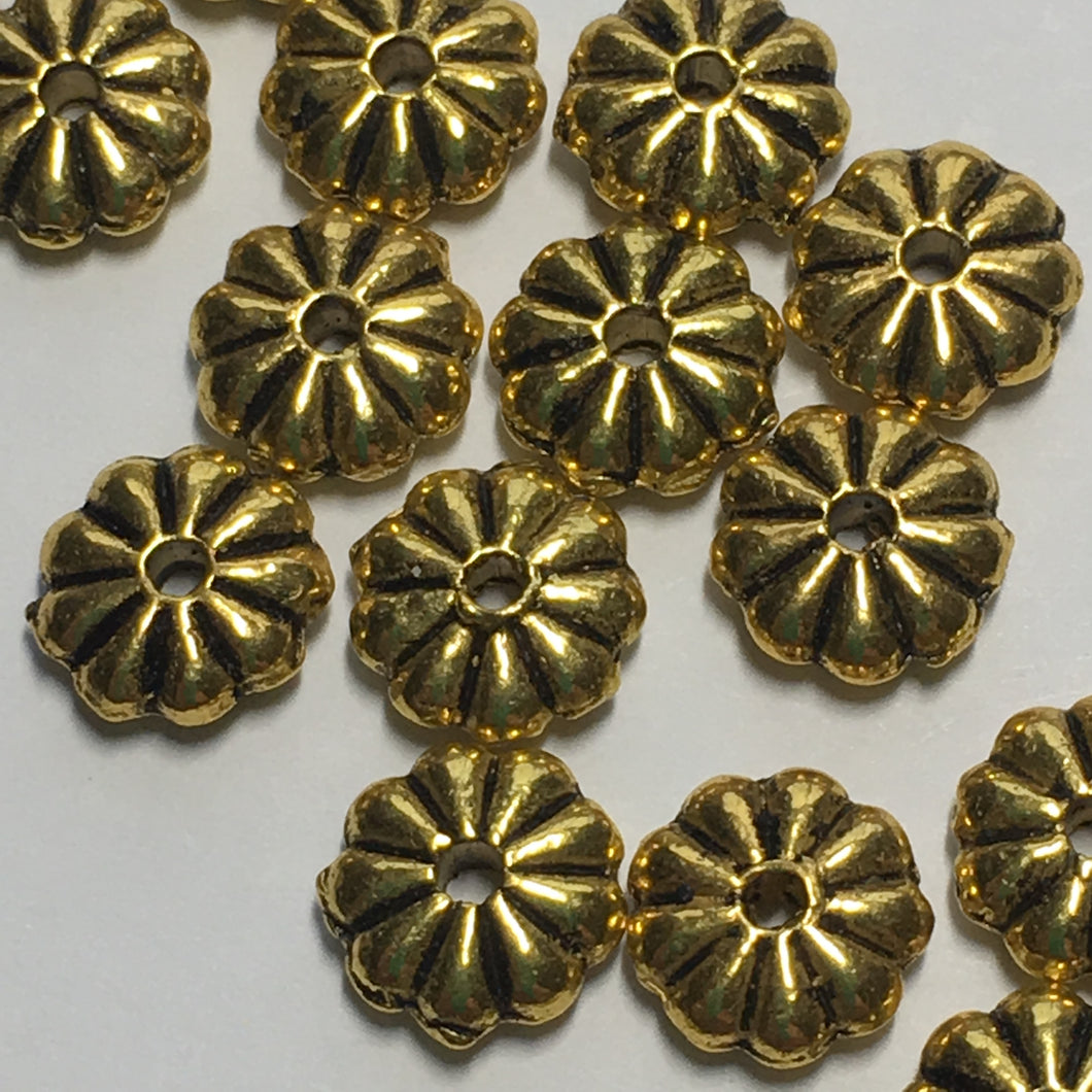 Antique Gold Flower Metal Spacer Beads 7 mm  - 18 Beads