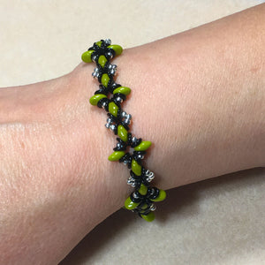 "Bead Kit to Make ""Oh, My Stars! Bracelet"" Green / Black / Silver with Free E-Tutorial starting at $9.99"