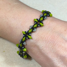 "Load image into Gallery viewer, Bead Kit to Make ""Oh, My Stars! Bracelet"" Green / Black / Silver with Free E-Tutorial starting at $9.99"