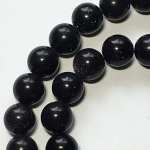 Blue Goldstone Semi-Precious Stone Round Beads, 10 mm - 39 Beads