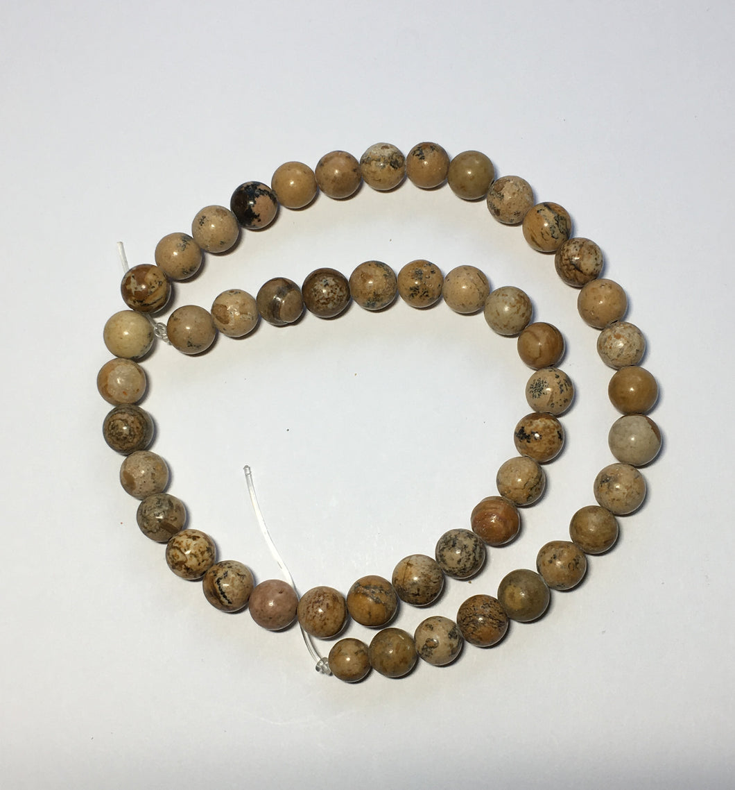 Map Stone Round Semi-Precious Stone Beads, 8 mm - 49 Beads