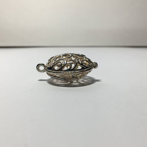 Antique Silver Finish Bead Cage Pendant/Charm, 30 mm Long