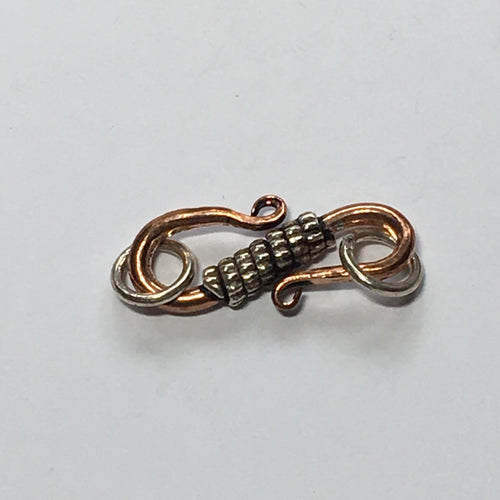 Copper S Hook with Antique Silver Rope Wrap and Jump Ring