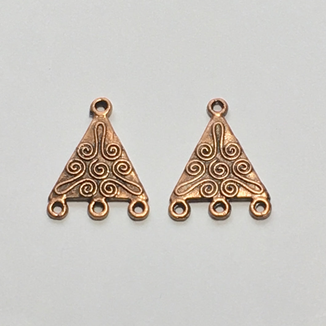 Copper Finish Scrolled Triangle Earring Findings 21 x 16 mm - 1 pair