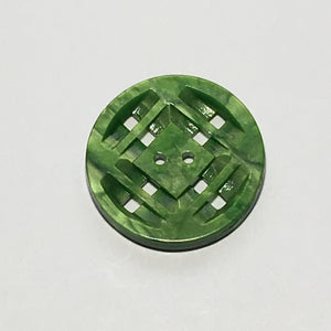 Vintage Geometric Green Faux Pearl Button, 29 mm
