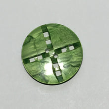 Load image into Gallery viewer, Vintage Geometric Green Faux Pearl Button, 29 mm