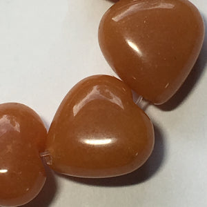 Orange Aventurine Semi-Precious Stone Hearts, 14 x 14 mm - 21 Beads