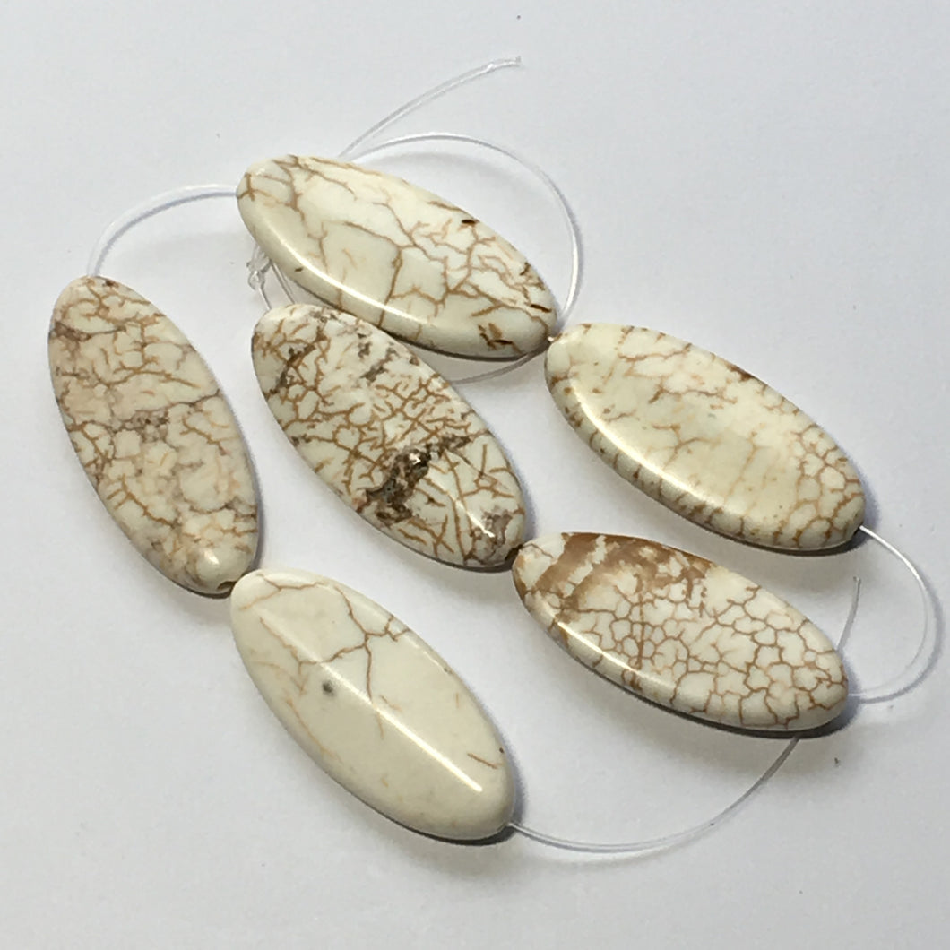 Ivory Howlite Flat Oval Beads 6 Beads 30 x 18 mm