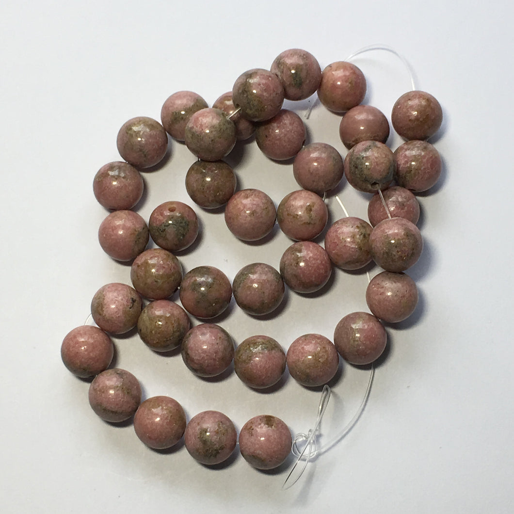 Rhodonite Round Semi-Precious Stone Beads Pink Green, 10 mm - 38 Beads